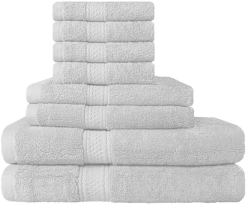 8 Piece Cotton Towel Set - White