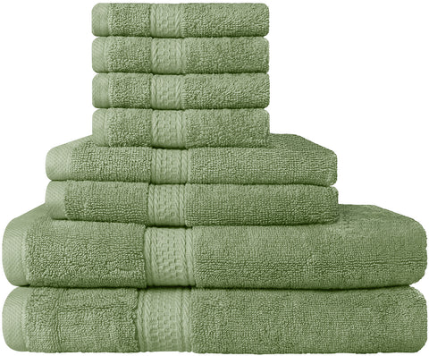 8 Piece Cotton Towel Set - Sage Green