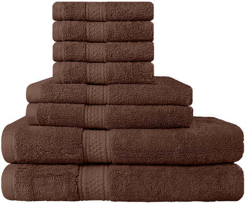 8 Piece Cotton Towel Set - Dark Brown