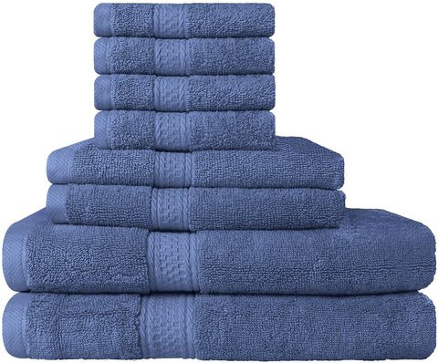 8 Piece Cotton Towel Set - Electric Blue