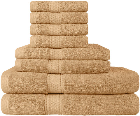 8 Piece Cotton Towel Set - Beige