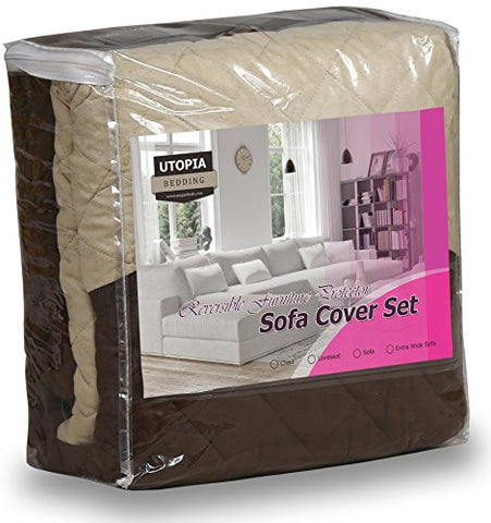 Reversible Sofa Chair Cover (Choc/Beige)