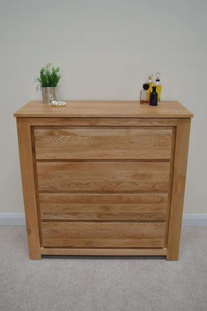 Bloomsbury 4 Drawer Solid Oak Wide Chest of Drawers - Oak Village