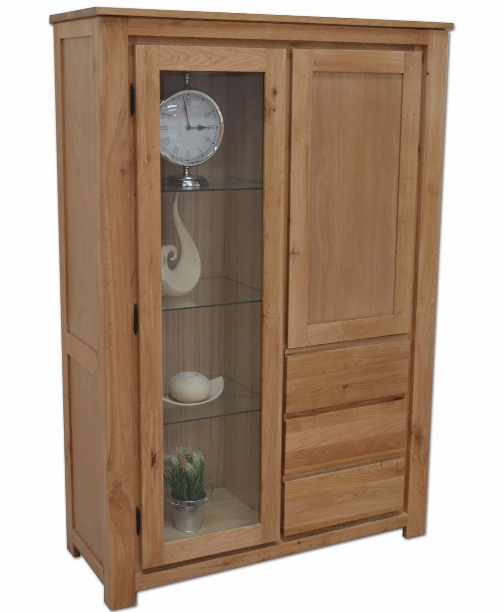 Bloomsbury Combination Glass Display - Oak Village
