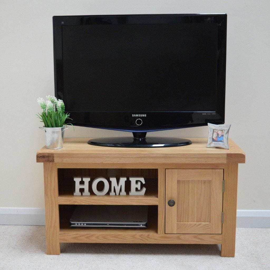 Dorset Light Oak Plasma Display Unit - Oak Village