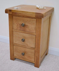 Dorset Oak 3 Drawer Bedside / Bedroom Side Table - Oak Village
