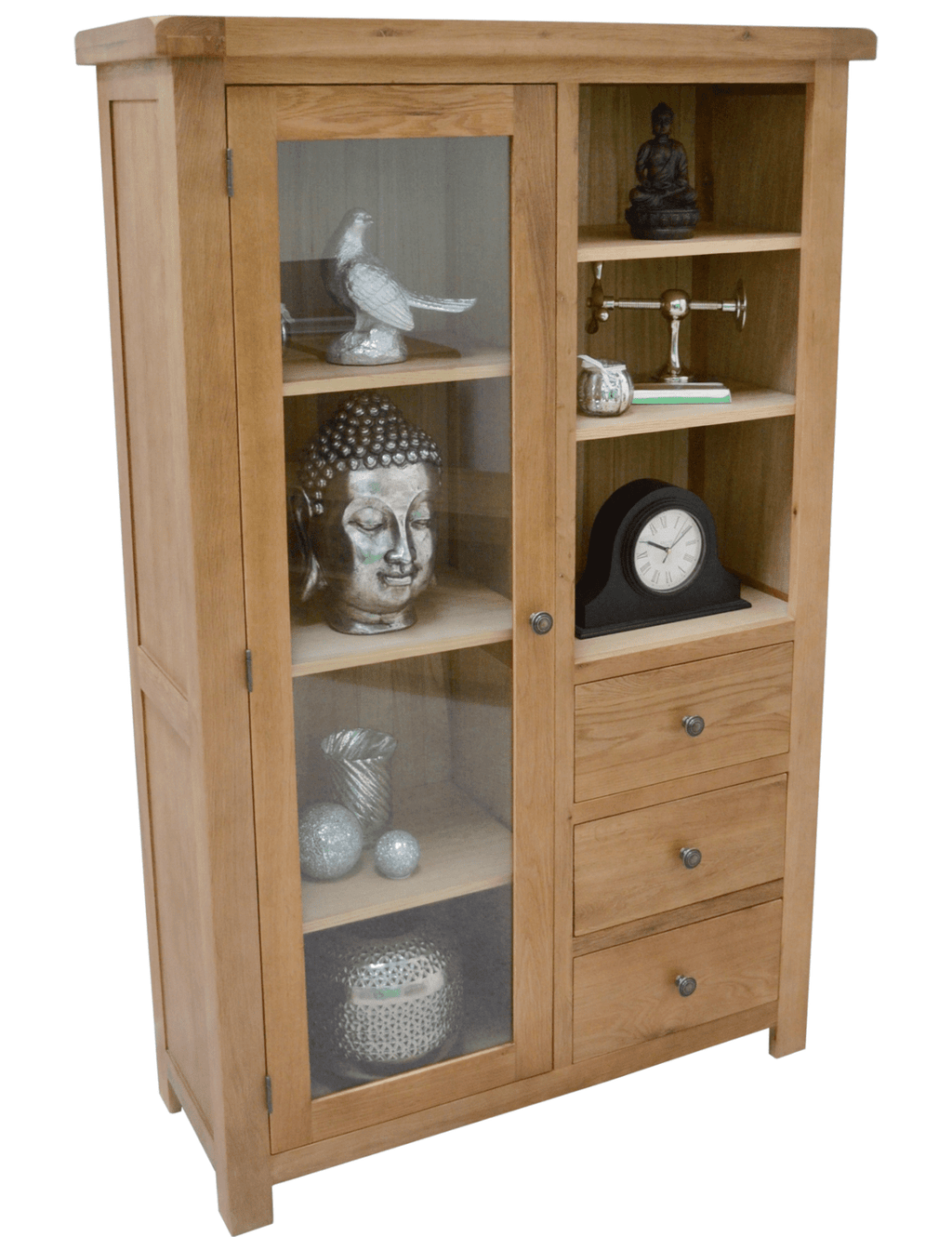 Dorset Oak Combination Display Cabinet With Storage And Glass Door - Oak Village