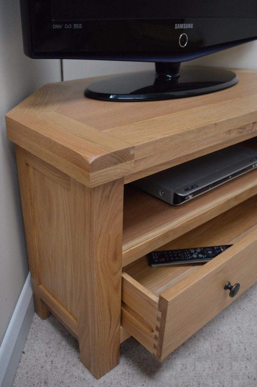 Dorset Oak Corner TV Stand - Oak Village