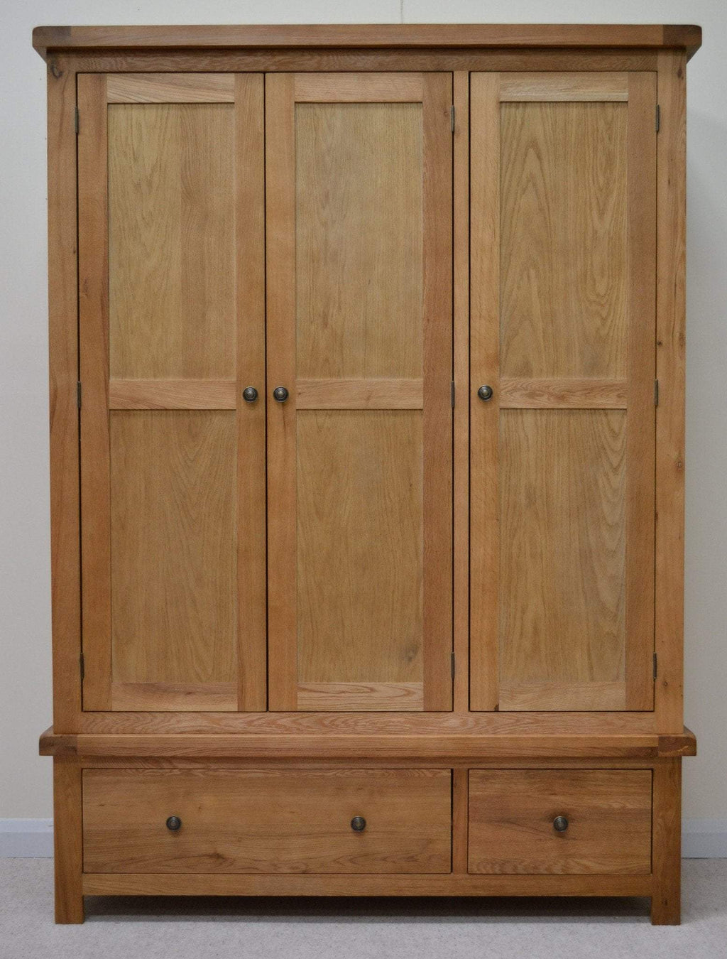 Dorset Oak Triple Wardrobe with Storage Drawers - Oak Village