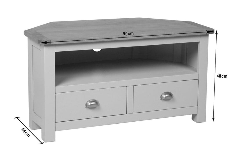 Farrows Grey Painted Corner TV Unit - Oak Village