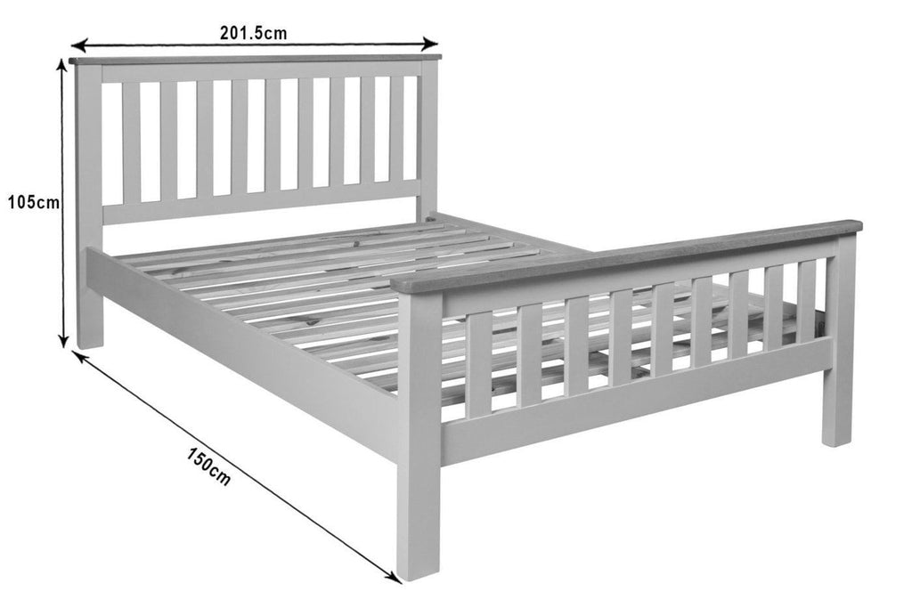 "Farrows Grey Painted Double Bed Oak 4ft 6"" - Oak Village"