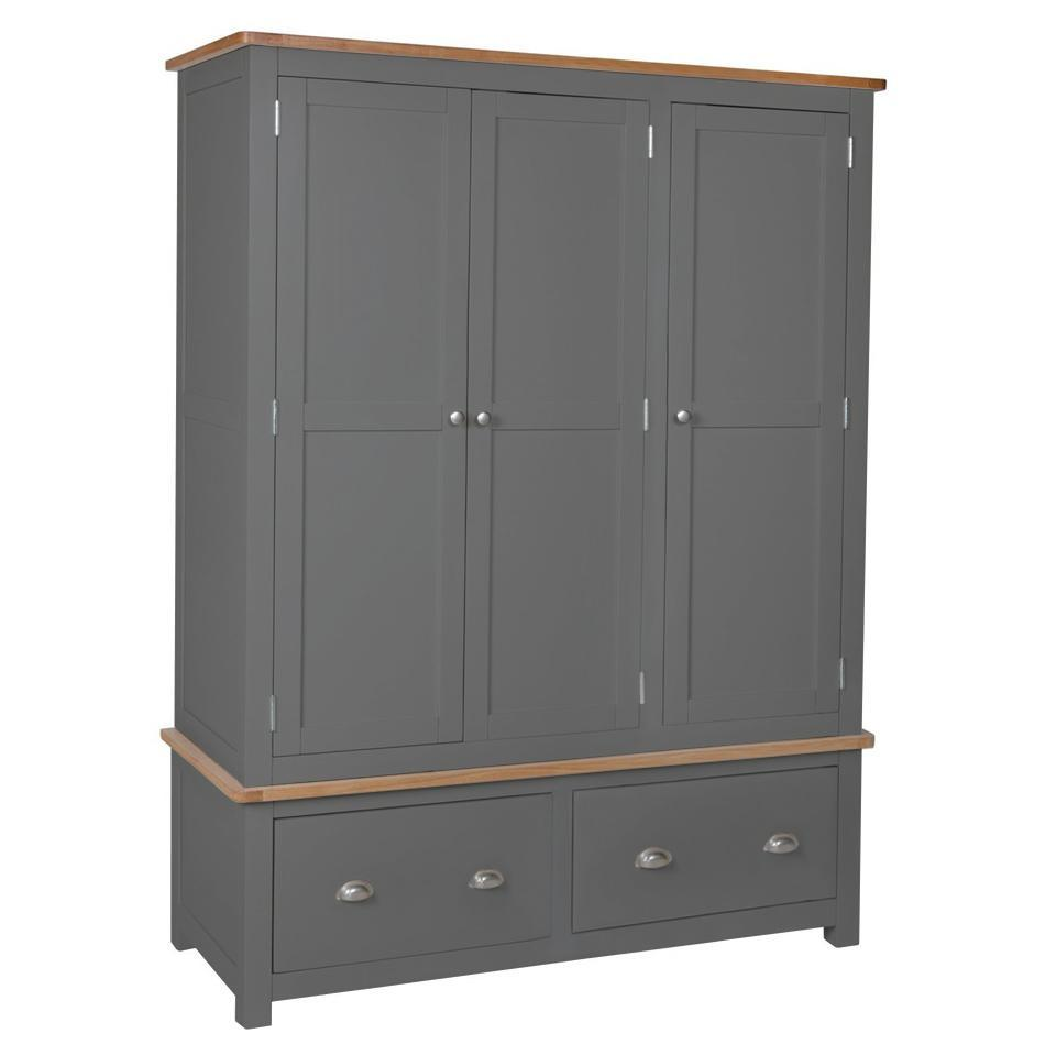 Farrows Grey Painted Triple Wardrobe - Oak Village