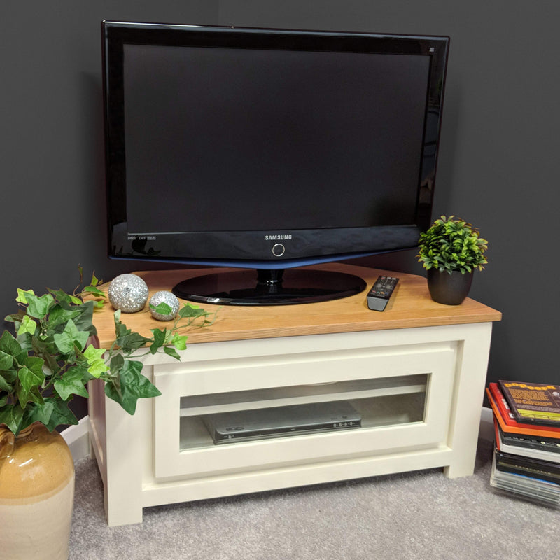 Harlow Painted Cream Corner TV Unit - Oak Village
