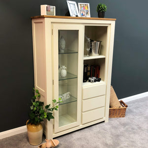Harlow Painted Cream Glass Display Cabinet - Oak Village