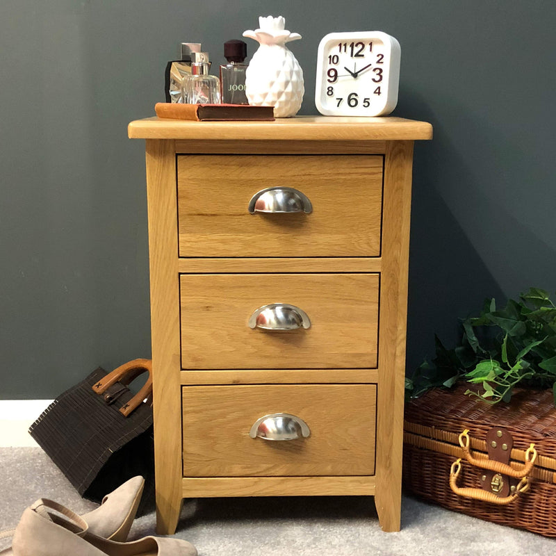 Harvard Oak 3 Drawer Bedside - Oak Village