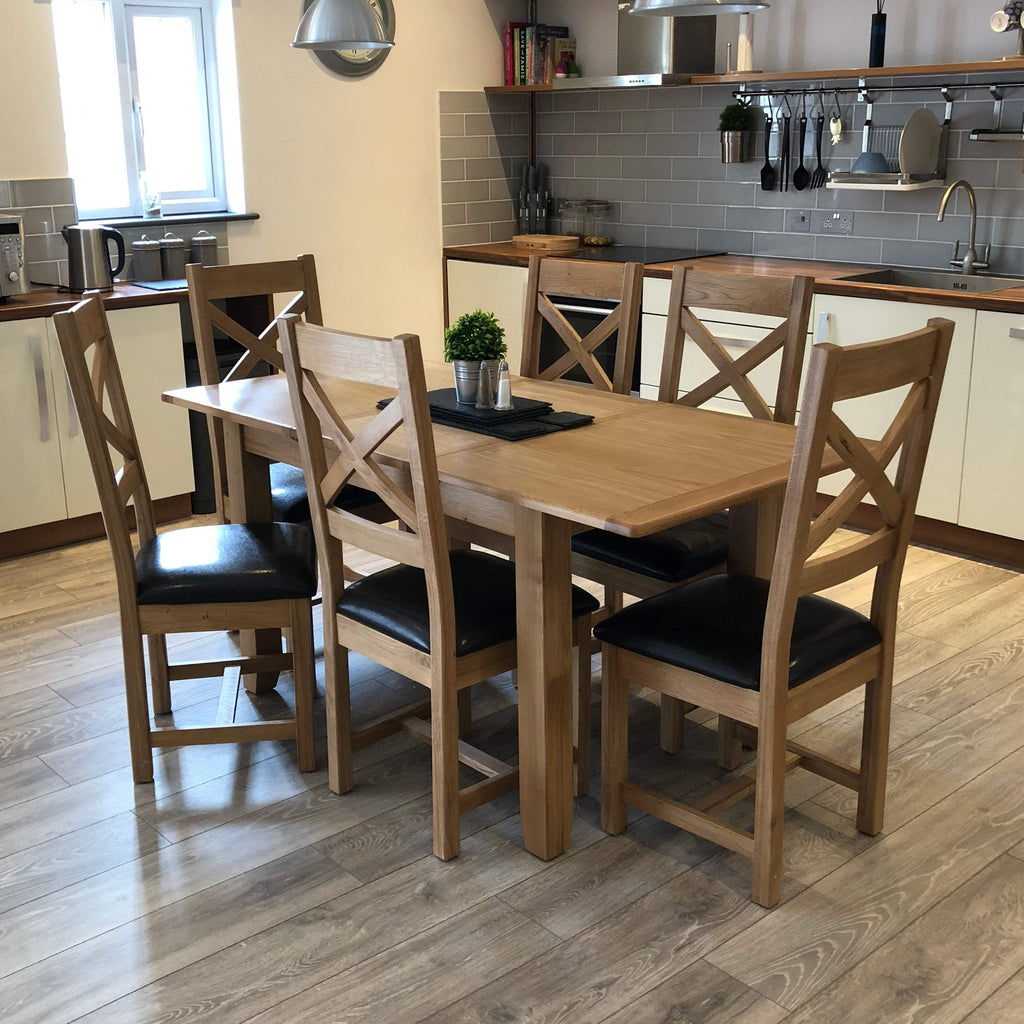 Harvard Oak Extending Dining Table With Chairs - Oak Village
