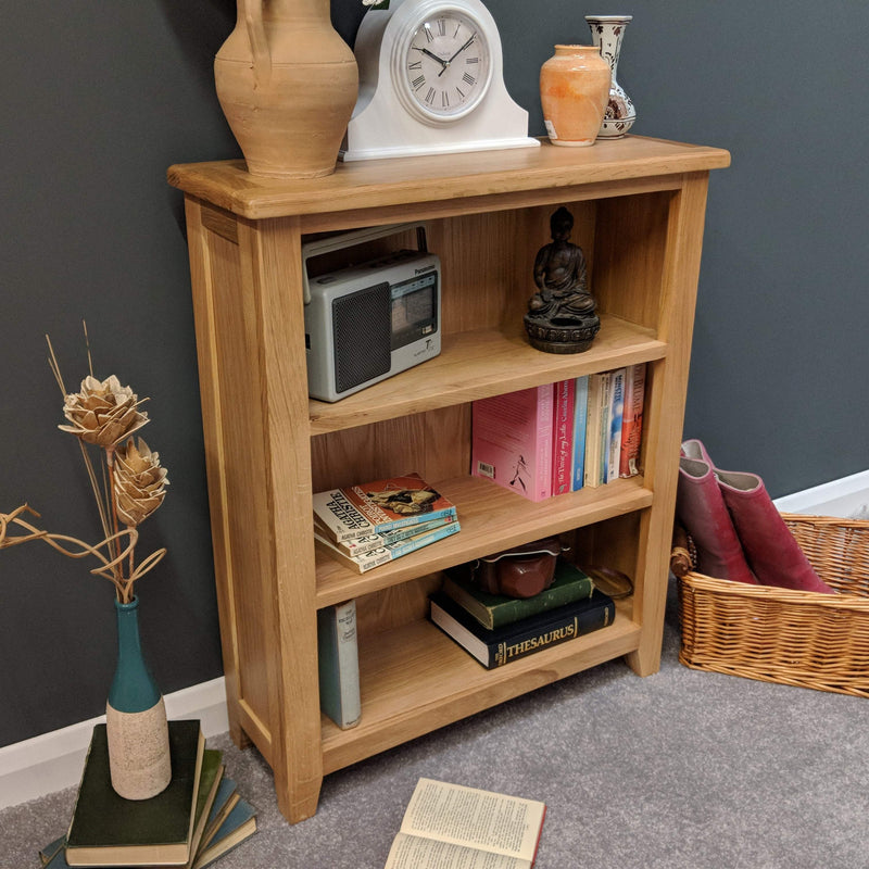 Harvard Oak Low Bookcase - Oak Village