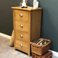 Harvard Oak Narrow 4 Drawer Chest - Oak Village