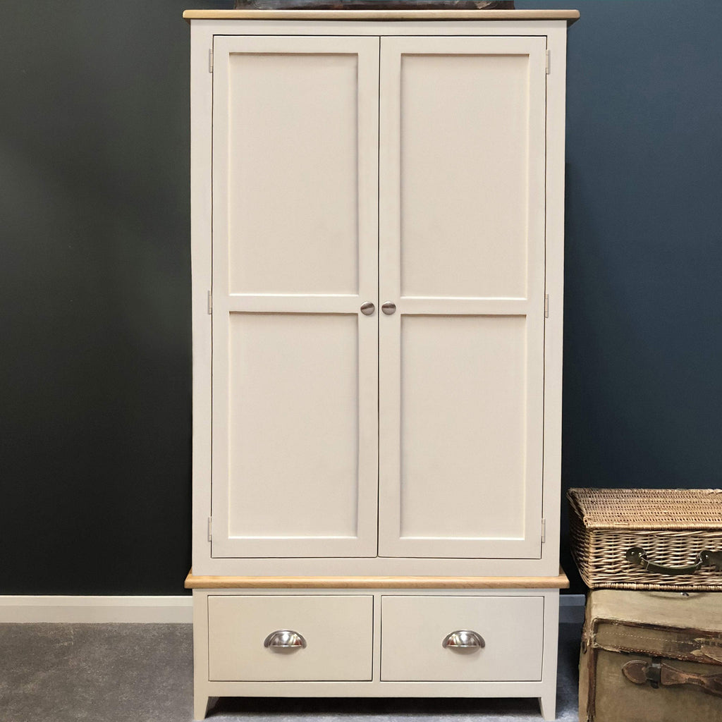 Lundey Cream Painted 2 Door Wardrobe - Oak Village