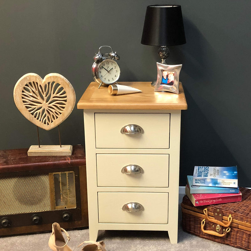Lundey Cream Painted Bedside Chest of Drawers - Oak Village