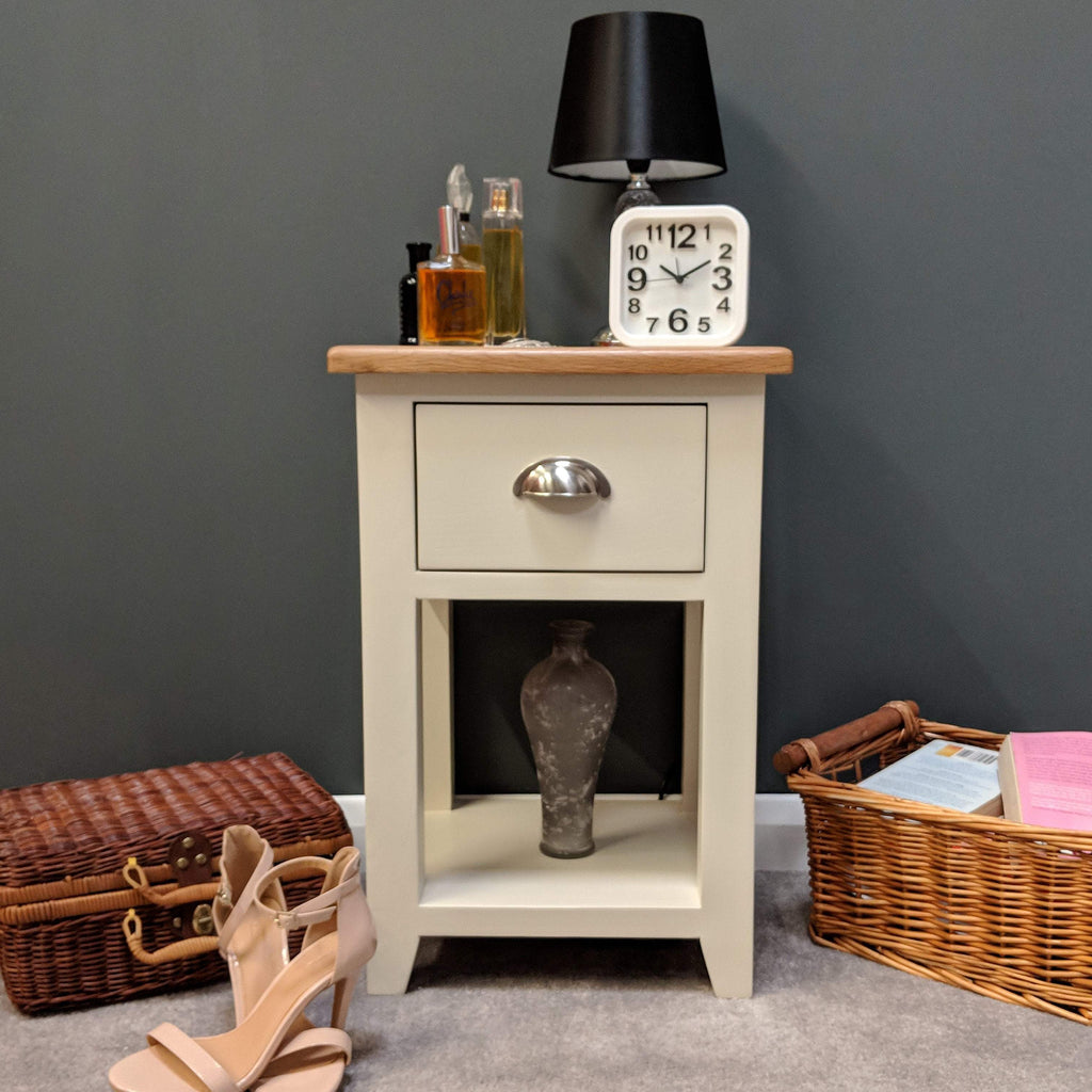 Lundey Cream Painted Oak Bedside Lamp Table - Oak Village