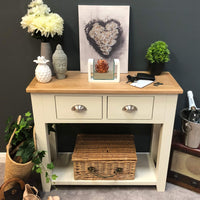 Lundey Cream Painted Oak Console Table - Oak Village
