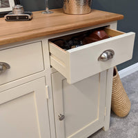 Lundey Cream Painted Oak Large Sideboard - Oak Village