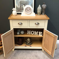 Lundey Cream Painted Oak Mini Sideboard - Oak Village