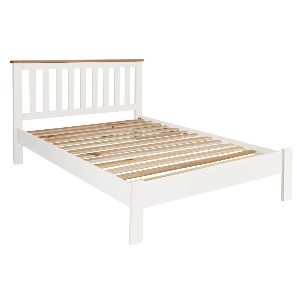 "Millbrook Cream Painted Double Bed Oak 4ft 6"" - Oak Village"