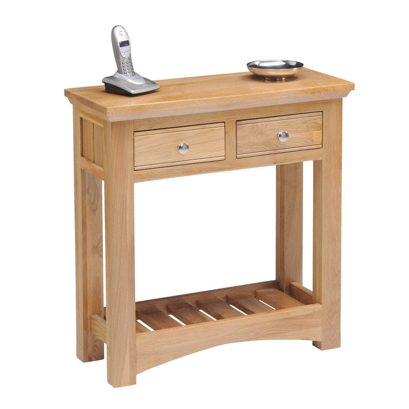 New England Light Solid Oak Console Table - Oak Village