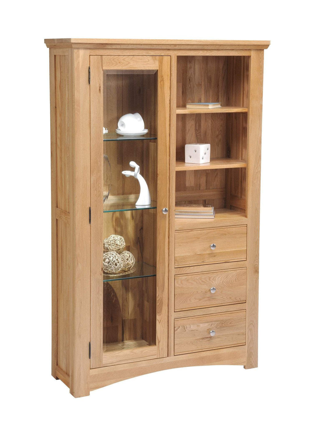 New England Oak Glass Combination Display Cabinet - Oak Village