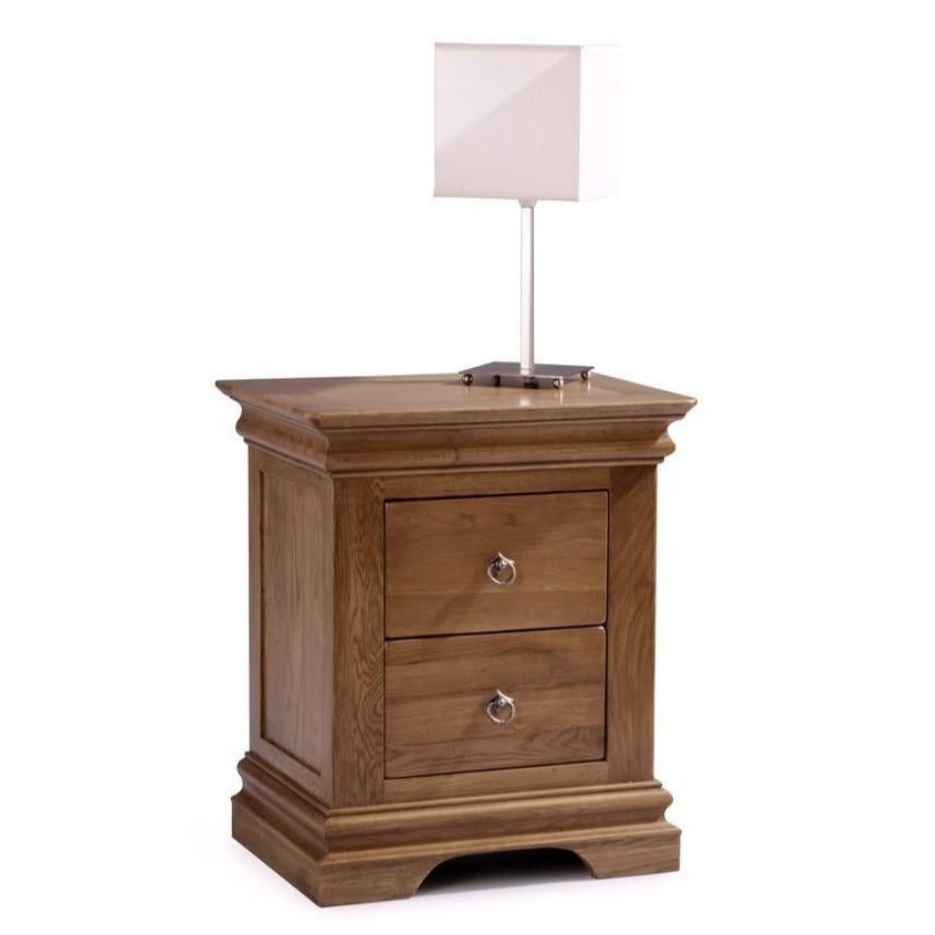 Normandy Farmhouse 2 Drawer Bedside Chest - Oak Village