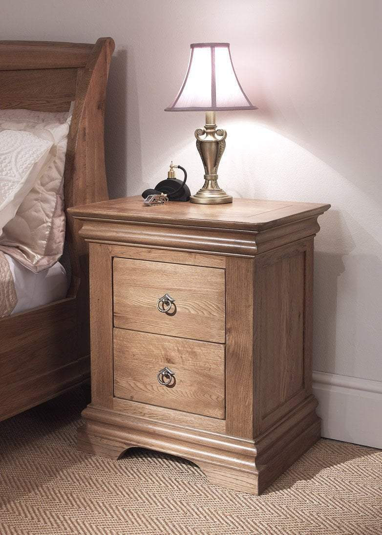 Normandy Farmhouse 2 Drawer Bedside Chest Oak Village