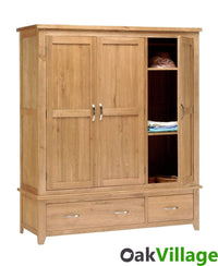 Oakworth Country Oak 3 Door Triple Wardrobe - Oak Village