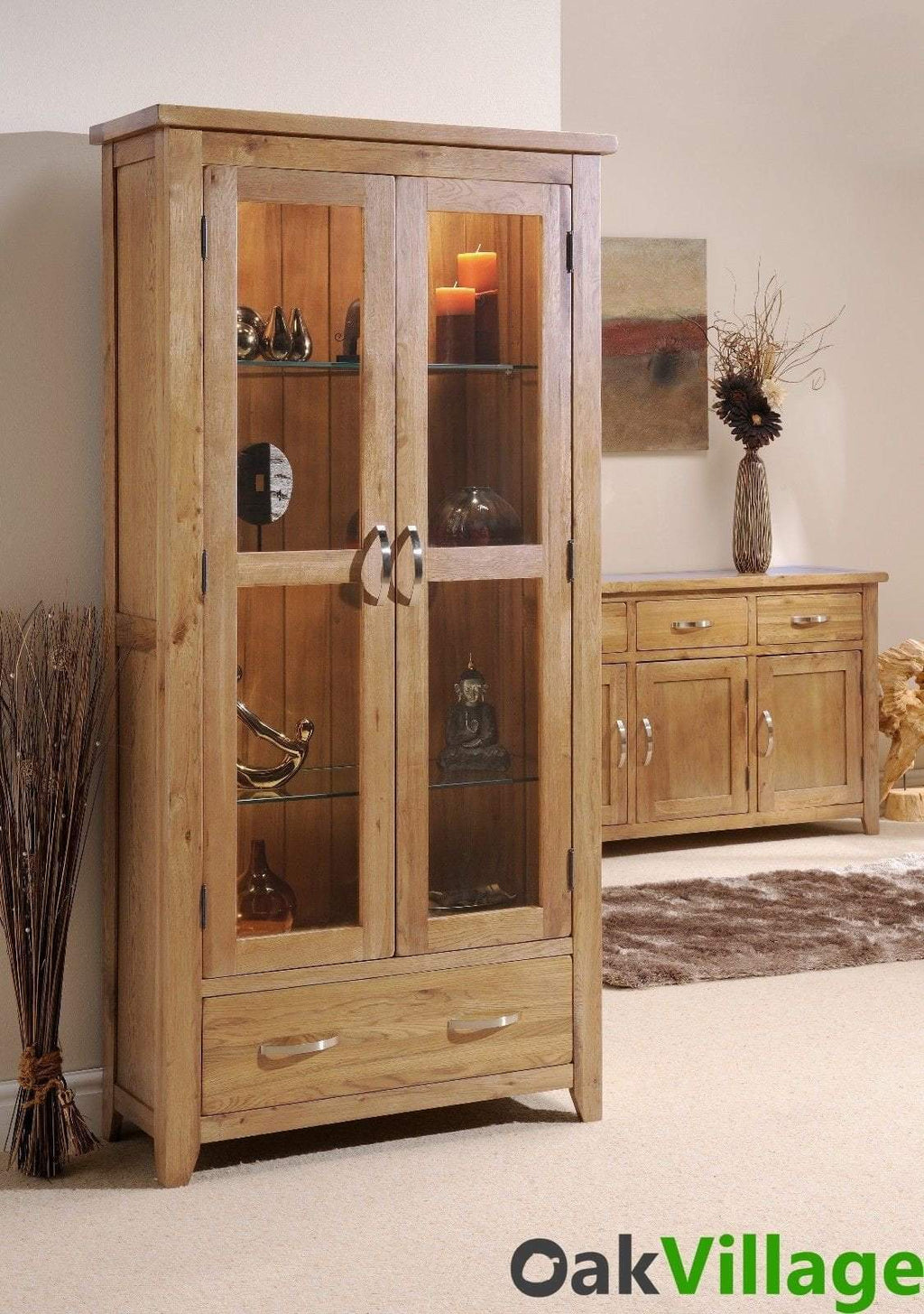 Oakworth Oak 2 Door Glass Display Unit - Oak Village
