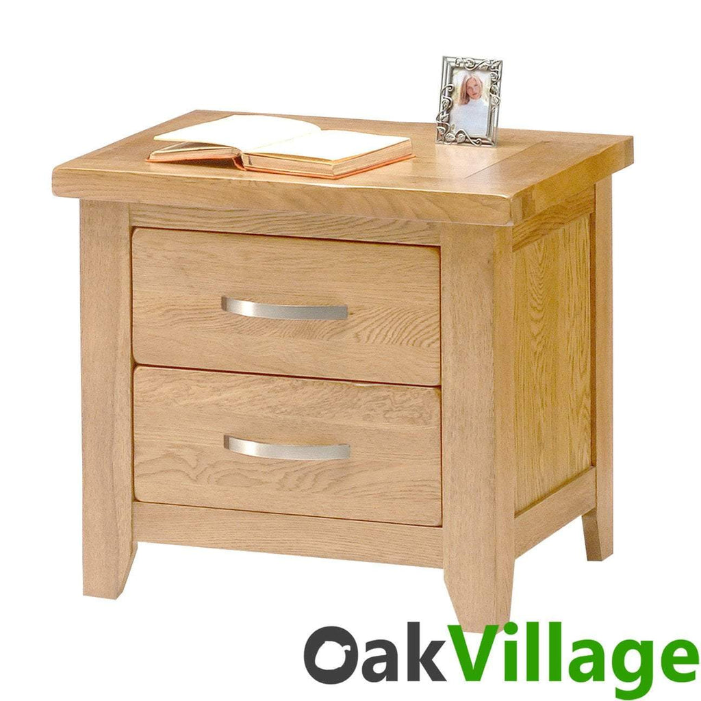 Oakworth Oak 2 Drawer Bedside Table - Oak Village