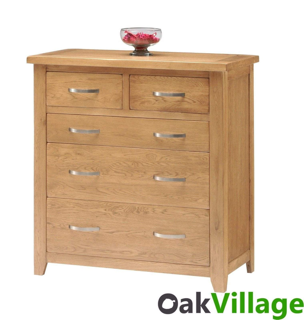 Oakworth Oak 5 Drawer Chest Of Drawers - Oak Village