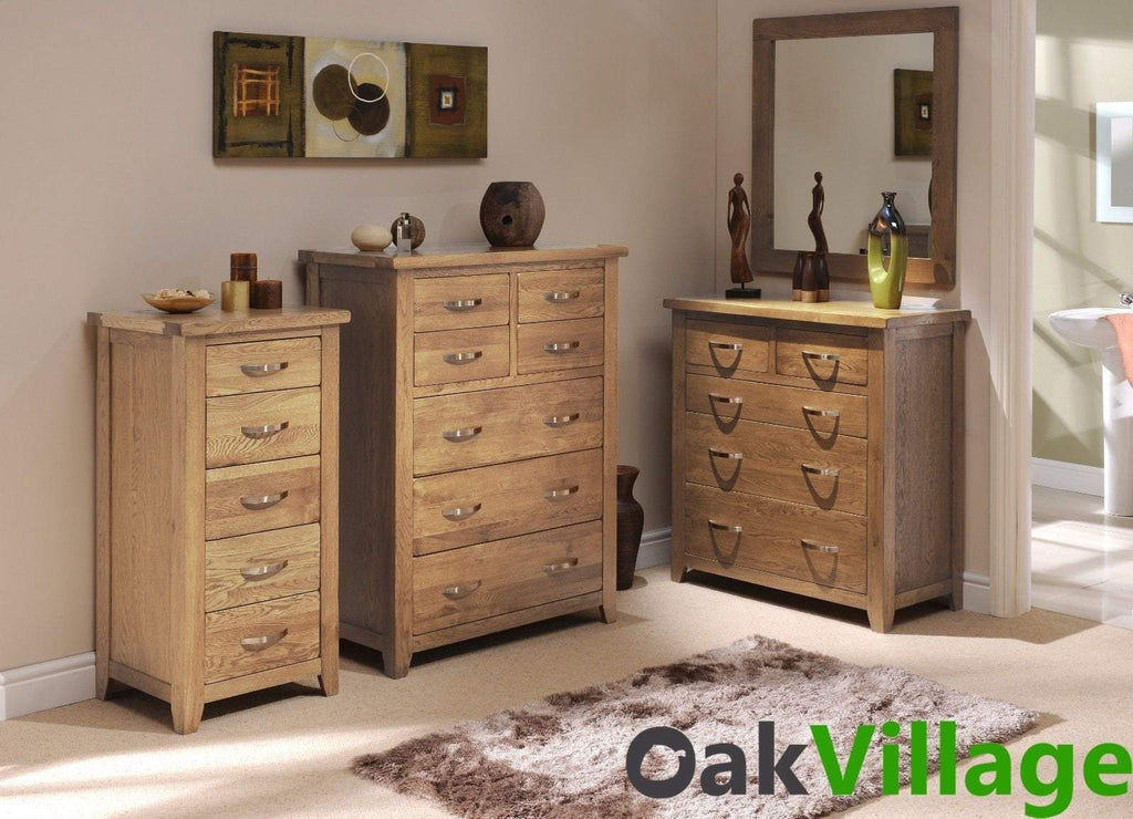 Oakworth Oak 7 Drawer Chest of Drawers - Oak Village