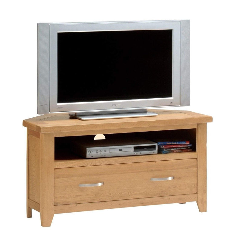 Oakworth Oak Corner TV Stand - Oak Village