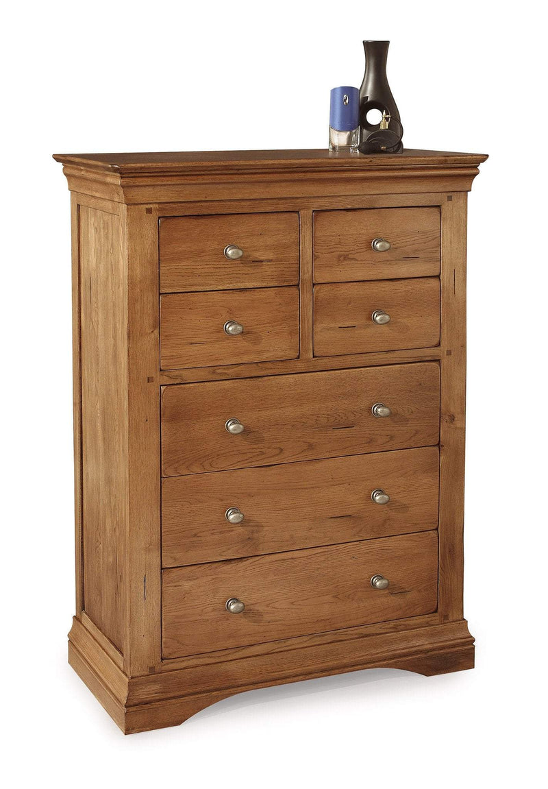 Toulouse Oak 4 Over 3 Chest Of Drawers - Oak Village