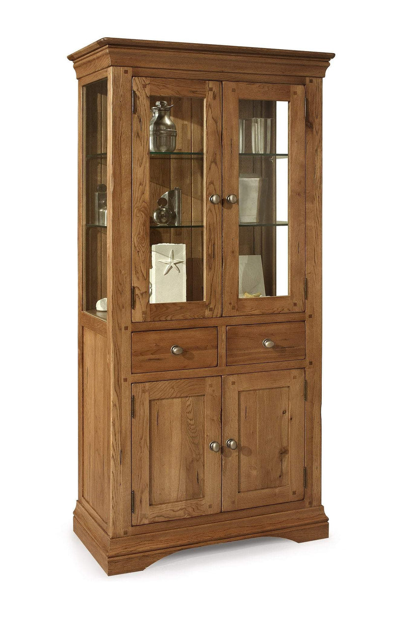 Toulouse Oak And Glass Display Cabinet - Oak Village