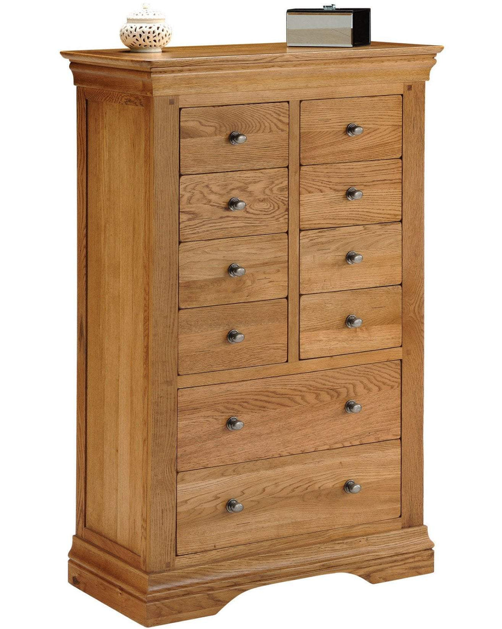 Toulouse Solid Oak 10 Drawer 8 Over 2 Louis Philippe Chest of Drawers - Oak Village