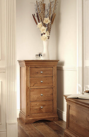 Toulouse Solid Oak Louis Philippe 4 Drawer Tallboy Narrow Chest of Drawers - Oak Village
