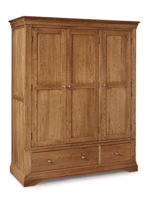 Toulouse Triple Three Door Wardrobe with Storage Drawers - Oak Village
