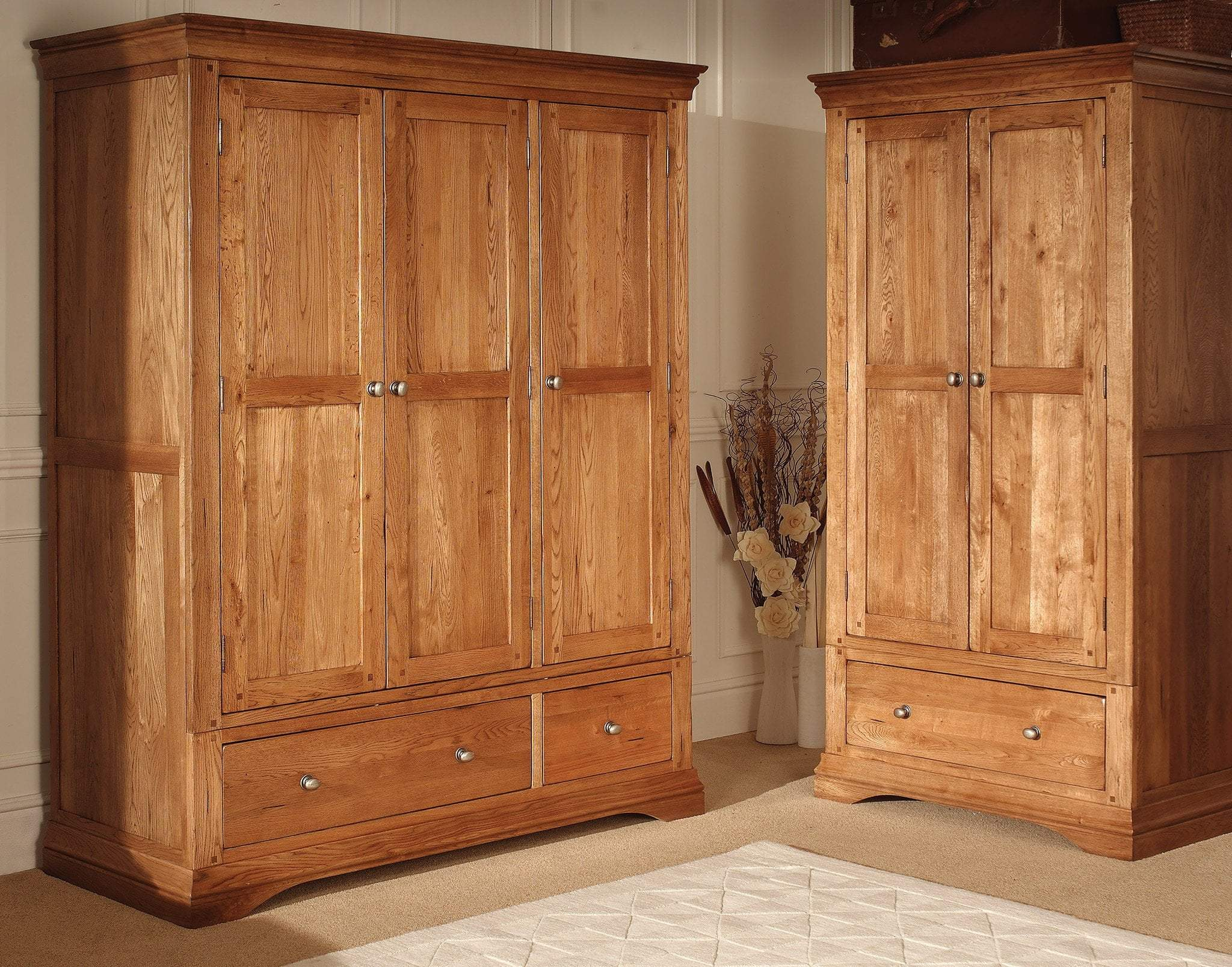 Toulouse Triple Three Door Wardrobe With Storage Drawers