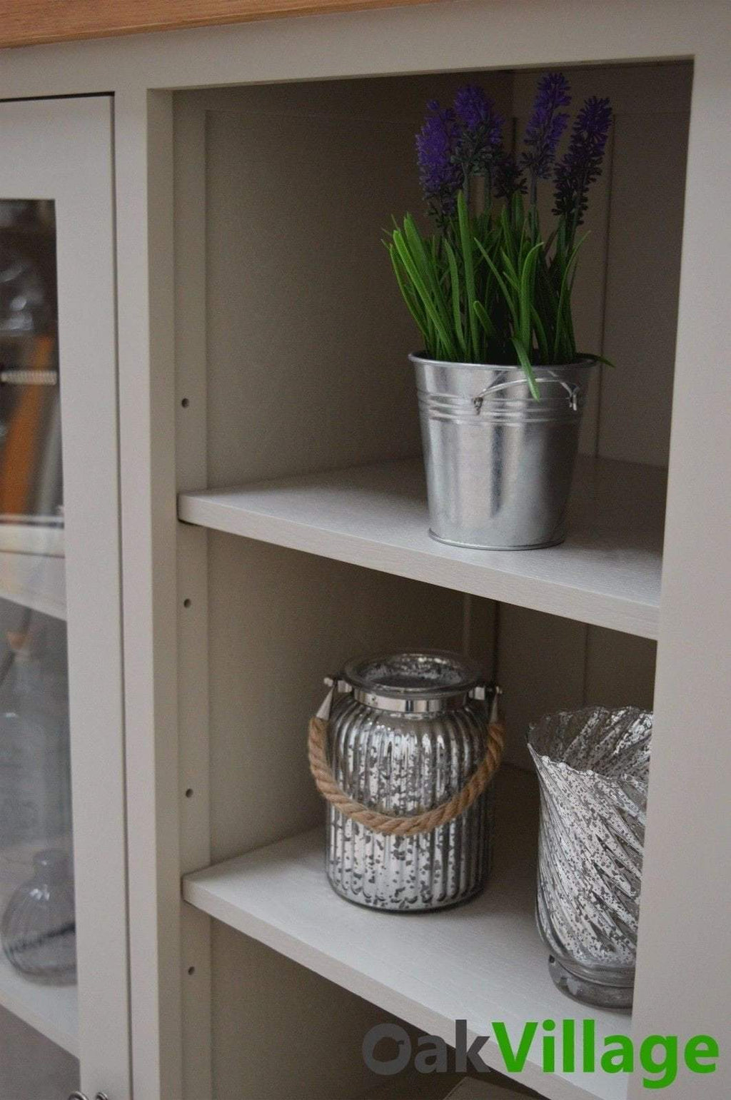 Tuscan Grey Painted Display Cabinet - Oak Village