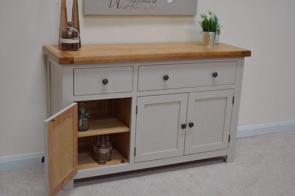 Tuscan Grey Painted Oak Large Sideboard - Oak Village