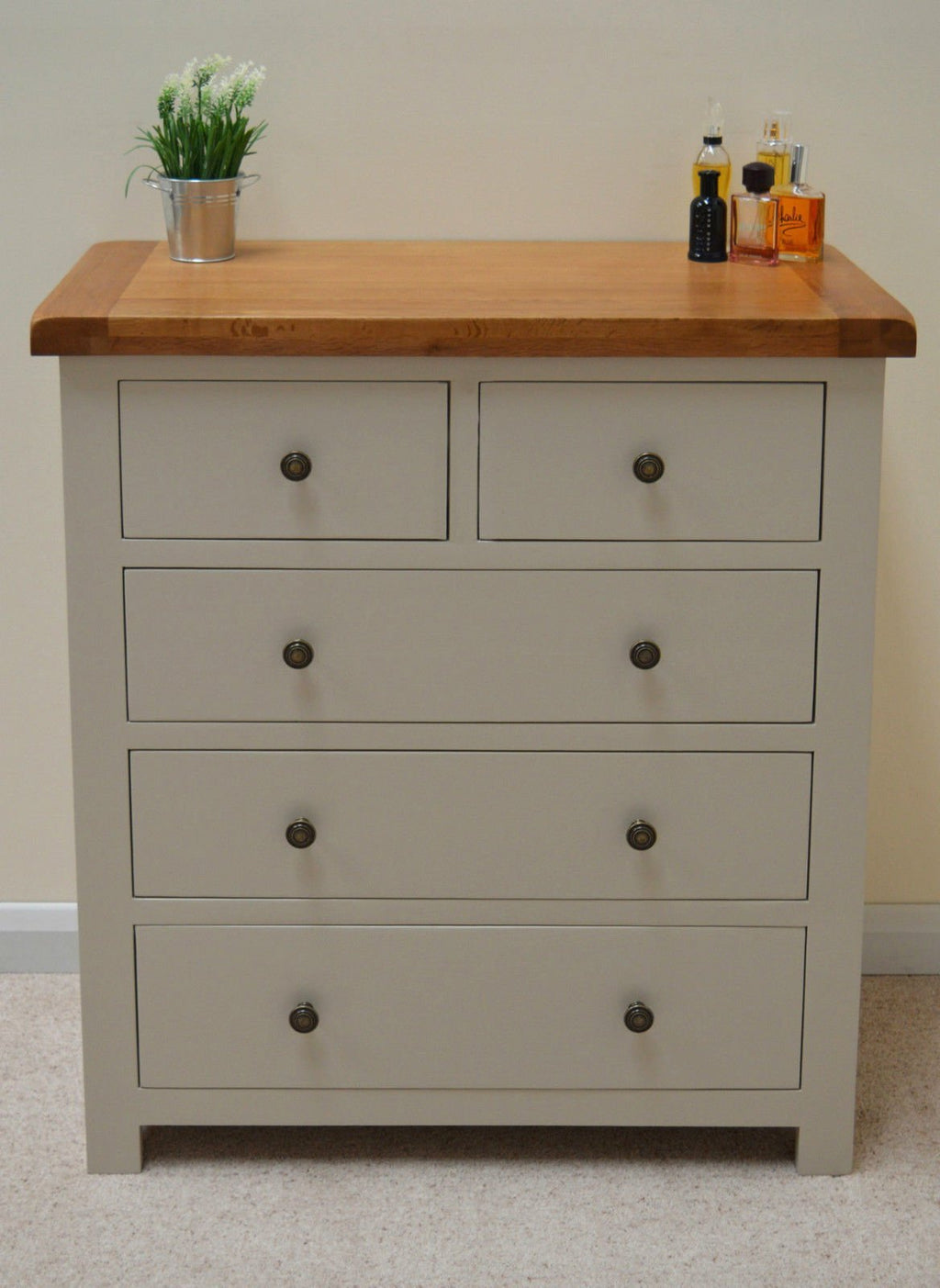 Tuscan Painted 5 Drawer Chest of Drawers (2 Over 3) - Oak Village