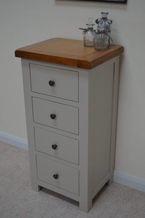 Tuscan Painted Oak 4 Drawer Narrow Chest of Drawers - Oak Village