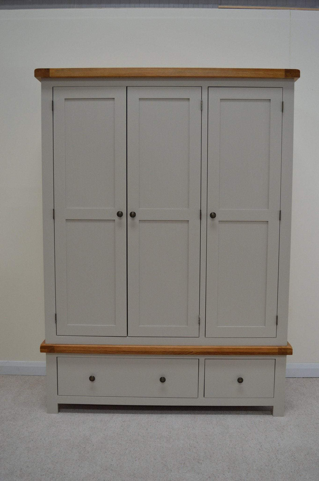 Tuscan Painted Three Door Wardrobe with Storage Drawers - Oak Village